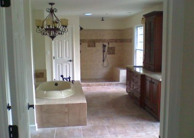 Gorgeous, mahogany, full tile bathroom